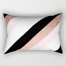 Modern trendy black blush pink rose gold geometric stripes pattern Rectangular Pillow