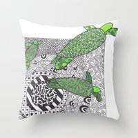 turtles Throw Pillows featuring Turtles by Kandus Johnson