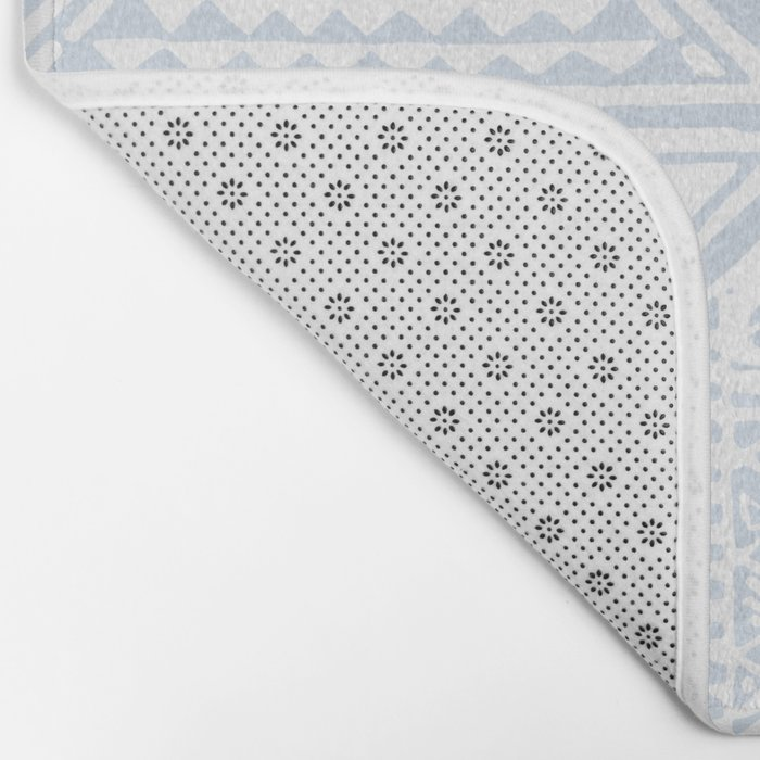Simply Tribal Tile in Sky Blue on Lunar Gray Bath Mat