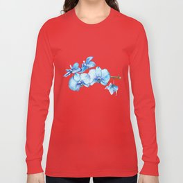 Blue Orchids Two - Watercolor Long Sleeve T-shirt