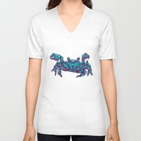 crab V-neck T-shirts featuring Crab by Jenji