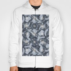 Abstract pattern.Blue,grey, white, black swirls and abstract shapes on a gray background. Hoody