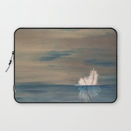 Floating Feather. Original Painting by Jodilynpaintings. Abstract Feather on Water. Laptop Sleeve
