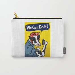 We can do it! Rosie the Riveter Vegan Cow Carry-All Pouch