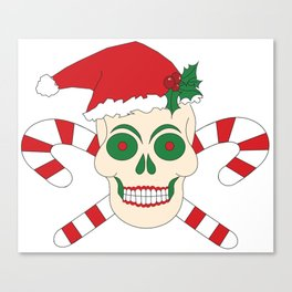 Creepy Christmas Santa Skull Canvas Print