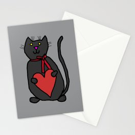 Cute Cat Holding Your Heart Stationery Cards