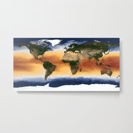 A Portrait of Global Sea Surface Temperatures Metal Print