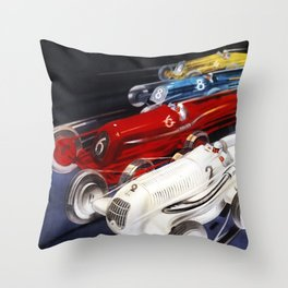 1934 12th Italian Grand Prix Grand Premio d'Italia Monza Plinio Codognato Vintage Poster Throw Pillow