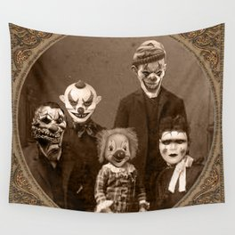Creepy Clown Family Halloween Wall Tapestry