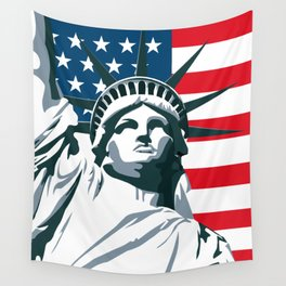 Pop Art Statue Of Liberty Wall Tapestry