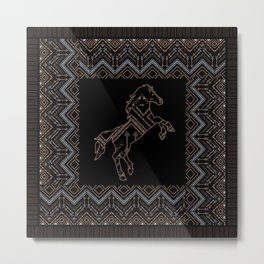 Ethnic pattern with a horse and american indian traditional ornament in brown and blue colors. Metal Print