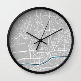 Sarajevo city map grey colour Wall Clock