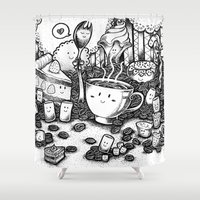 coffe Shower Curtains featuring Smile coffe by Kisava NiCh