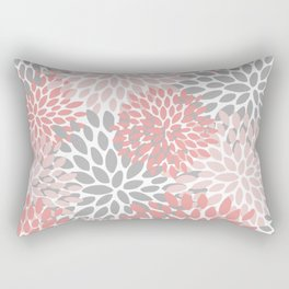 Floral Pattern, Coral Pink and Gray Rectangular Pillow