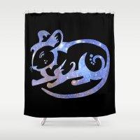 zodiac Shower Curtains featuring Rat zodiac  by Julie Luke