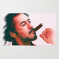 robert downey jr Area & Throw Rugs featuring Mr Downey, Jr. by Thubakabra