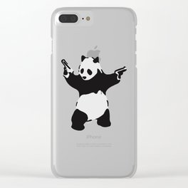 Banksy Pandamonium Armed Panda Artwork, Pandemonium Street Art, Design For Posters, Prints, Tshirts Clear iPhone Case