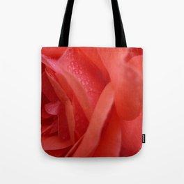 Raindrops on rose petals Tote Bag