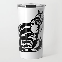 Black And White Seated Tabby Cat Travel Mug