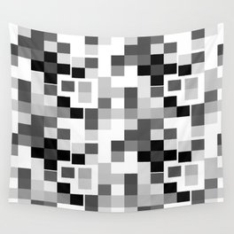 Grayscale Squares Wall Tapestry