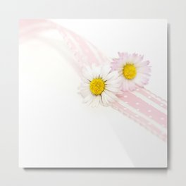 Spring Flowers White and Pink Metal Print