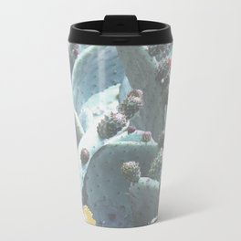Green Flowering Cacti Metal Travel Mug