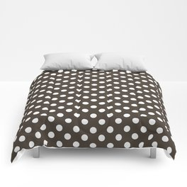 Taupe and White Polka Dot Pattern Comforters