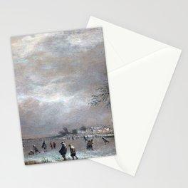 Aert van der Neer Winter Landscape with Skaters on a Frozen River Stationery Cards