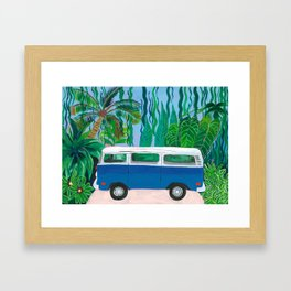Blue Campervan Framed Art Print