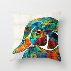 Colorful Wood Duck Art by Sharon Cummings Throw Pillow