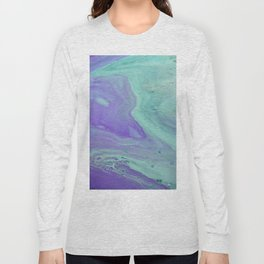 Blue Purple Flow - Fluid Acrylic Abstract Painting Long Sleeve T-shirt