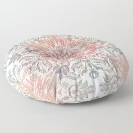 Autumn Spice Mandala in Coral, Cream and Rose Floor Pillow
