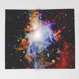 GaLaXY : Orion Nebula Dark & Colorful Throw Blanket