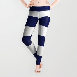 Large Wide Band Vintage Midnight Blue And White Stripes Leggings