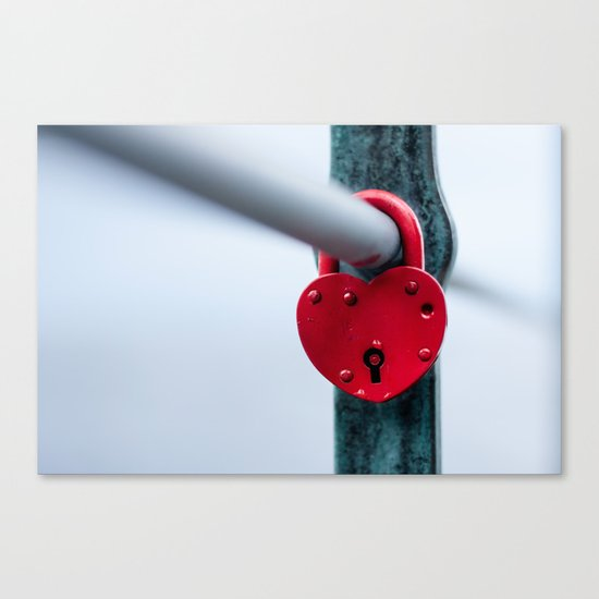 Red Heart Lock Canvas Print