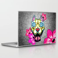pit bull Laptop & iPad Skins featuring Slobbering Pit Bull Day of the Dead Sugar Skull Dog by Pretty In Ink