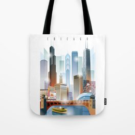 Chicago city skyline painting Tote Bag