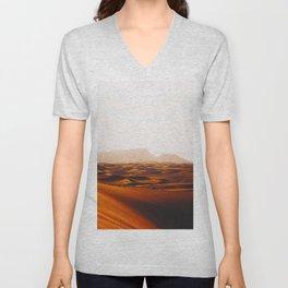 Minimalist Desert Landscape Sand Dunes With Distant Mountains Unisex V-Neck