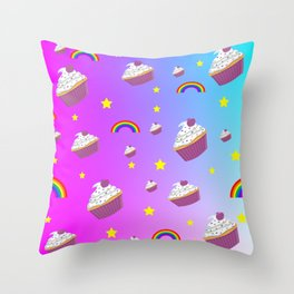 cupcakes and rainbows pattern Throw Pillow