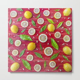 Fruits and leaves pattern (34) Metal Print