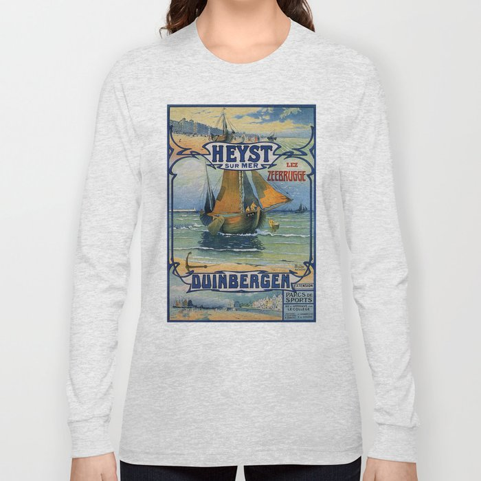 Antique travel fishing boat Heist Duinbergen Long Sleeve T-shirt