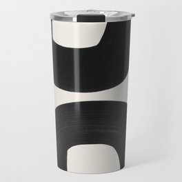 Mid Century Modern Minimalist Abstract Art Brush Strokes Black & White Ink Art Tribal Marking Travel Mug