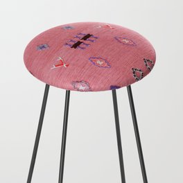 N61 - Lovely Pink Traditional Boho Farmhouse Moroccan Style Artwork Counter Stool