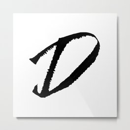 Letter D Ink Monogram Metal Print