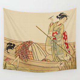 Women Gathering Lotus Blossoms Wall Tapestry