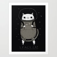 cat coquillette Art Prints featuring space cat by Louis Roskosch