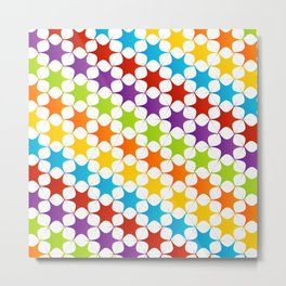 Cute colorful star seamless pattern on white Metal Print