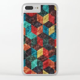 Colorful Isometric Cubes Clear iPhone Case