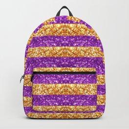 Purple and Gold Glitter Stripes Baton Rouge New Orleans Nola Louisiana Los Angeles California Backpack