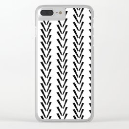 Linocut abstract minimal chevron pattern basic black and white decor Clear iPhone Case